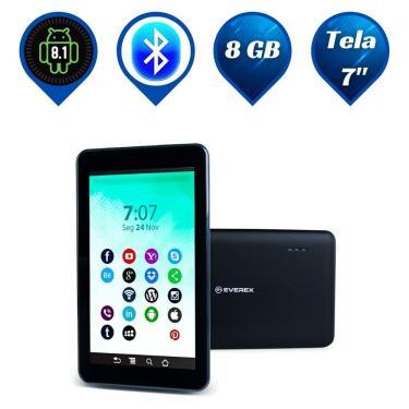 "Imagem de Tablet Everex Quad Core, Tela 7"", 1GB RAM, 8GB, Bluetooth, Android 8.1 - Preto"