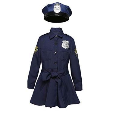Imagem de NUOBESTY Fantasia de policial infantil, fantasia de policial para meninas, vestido fofo de policial para meninas, para Halloween, cosplay, festa, azul marinho