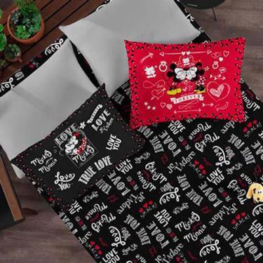 Imagem de Kit Enxoval Mickey E Minnie Lençol  De Casal Com 2 Fronhas - Disney