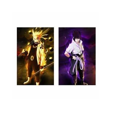 Kit 2 Quadros decorativos Naruto e Sasuke Uchiha em Tecido