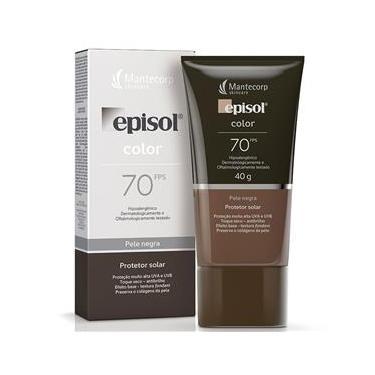 Protetor Solar Episol Color Base Facial Pele Negra FPS70 40g