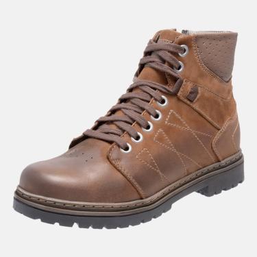 Bota Coturno Em Couro Mega Boots 6030 Taupe-chocolate  masculino