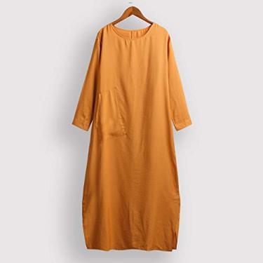Leeofty Vestido longo feminino de túnica com bolsos de manga longa dividida bainha solta e ajuste sólido vestido maxi até o tornozelo