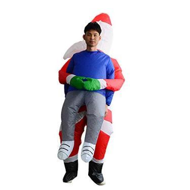 Imagem de mewmewcat Fantasia inflável Blow Up Costume Cosplay Fantasias engraçadas de Natal Papai Noel
