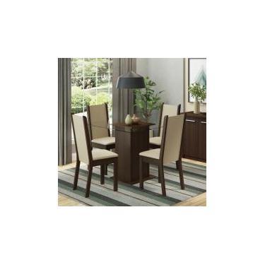 Conjunto Sala de Jantar Aline Madesa Mesa Tampo de Vidro com 4 Cadeiras - Tabaco/ Crema/ Pérola -