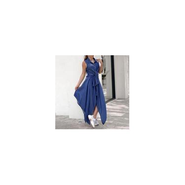 Vonda verão feminino com gola virada para baixo vestido sem mangas vestido casual com auto-gravata na cintura vestido irregular vestido de férias plus size Azul M