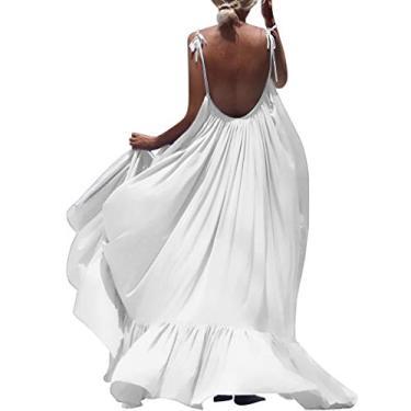 Shakumy Vestido feminino casual de verão floral boêmio, sem mangas, vestido longo de praia, vestido solto de festa, túnica rodado, Z9 - Branco, M
