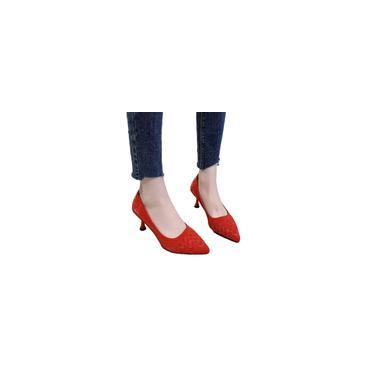 Sapatos de ponta rasa em tecido xadrez Sapatos femininos vermelhos Sapatos de salto alto
