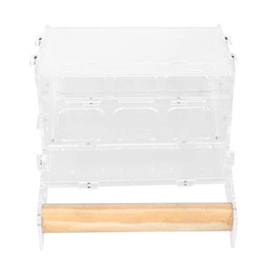POPETPOP Alimentador Alimentador de Suspensão Do Pássaro Papagaio 6-Grades De Plástico Caixa de Periquitos Gaiola Alimentador Com Poleiro De Madeira Suporte para Periquito Conure Periquito