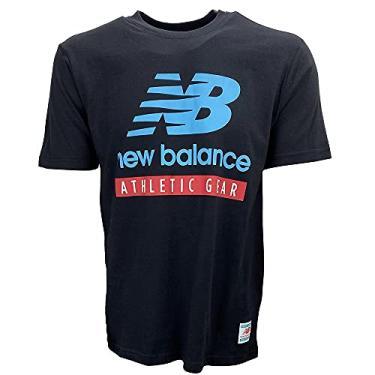 Imagem de Camiseta New Balance Essentials Logo Bmt11517-Bk Gg Preto/Azul/Vermelho