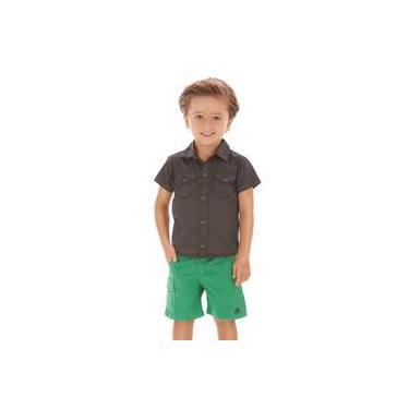 Conjunto Menino Camisa Grafite E Bermuda Sarja Verde Up Baby