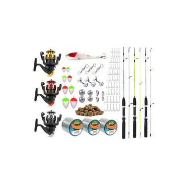 Kit De Pesca Completo 3 Varas 3 Molinetes + Acessórios (Ref. 02)