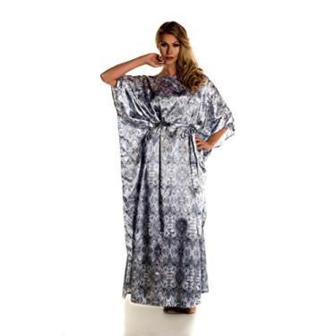 Kaftan longo em cetim de seda com faixa vestido saída de verão Donna Brasiliana (Estampa Minimalista, Único)