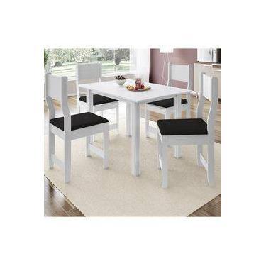 bbbae5d40 Conjunto Sala de Jantar Mesa 4 Cadeiras Dallas Indekes Branco