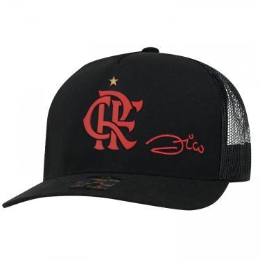 Boné Aba Curva do Flamengo Zico Supercap CRF Silk - Snapback - Trucker - Adulto Super Cap Unissex