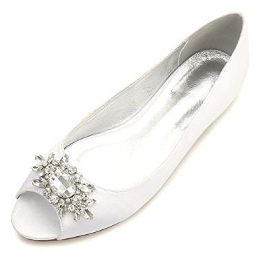MarHermoso Sapatilha feminina peep toe elegante de cetim para casamento balé de noiva, Marfim, 8