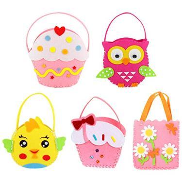 NUOBESTY 5 conjuntos de kit de bolsa de desenho animado para crianças, kit de artesanato artesanal, artesanal, artesanal, artesanal, kit de brinquedos de ponto de mão para crianças iniciantes