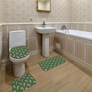 Imagem de Jogo de Banheiro Natal Lhama Verde Único
