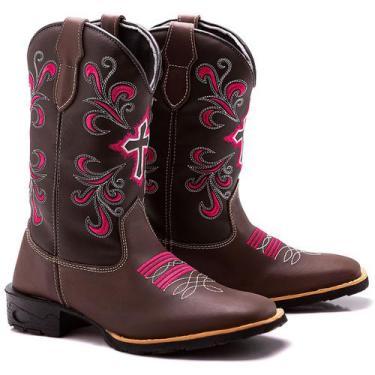 Imagem de Bota Botina Montaria Texana Country Feminina Couro Cruz Floral - Soft