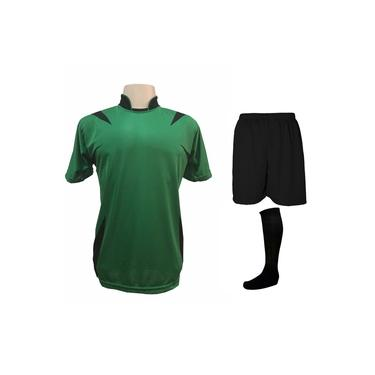 Uniforme Esportivo Completo modelo Palermo 14+1 (14 camisas Verde/Preto + 14 calções Madrid Preto + 14 pares de meiões Pretos + 1 conjunto de goleiro) +