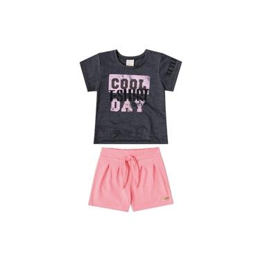 Conjunto Quimby Blusa Malha e Shorts Cotton Cool Preto