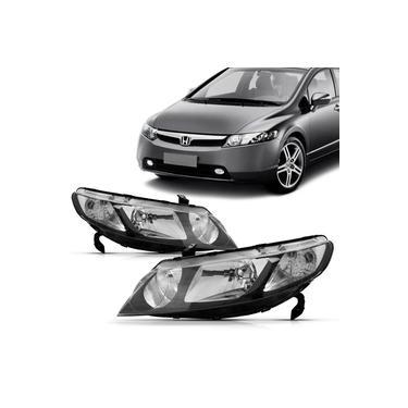 Par Farol Honda Civic 2006 2007 2008 2009 2010 2011 Foco Duplo Mascara Negra