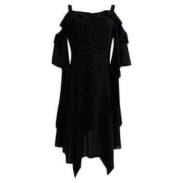 Vestidos góticos para mulheres Plus Size Criss Cross Lace T-Shirt Dress Butterfly Sleeve Irregular Cosplay Vestido Chaofanjiancai, Z-black, XX-Large