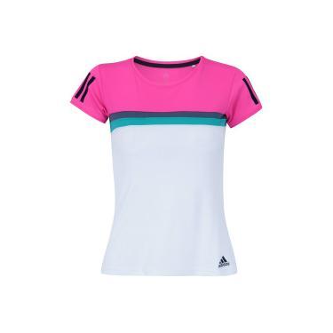 Camiseta com Proteção Solar UV adidas Club Tee - Feminina - ROSA BRANCO  adidas 8488b7ebca18e