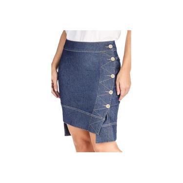 Saia Jeans Mullet Botões Laterais Dyork Jeans