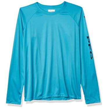 Columbia Women's PFG Tidal Tee Ii Long Sleeve W/Wicking & Uva Protection, Clear Water/Collegiate Navy Logo, Large