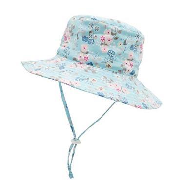 Chapéu de sol para bebês meninos chapéu infantil FPS 50+ chapéu de praia infantil com aba larga, Flor azul, 12-24 meses