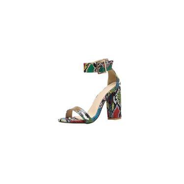 Sandálias de salto alto antiderrapantes da moda feminina com dedos de cobra listrados coloridos cool 28770