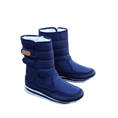 Bota Forrada Neve e Frio Velcro Azul Marinho (38, Azul Marinho)