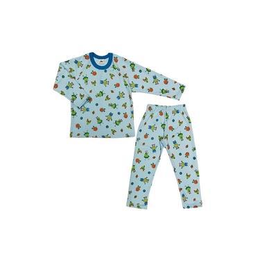 Pijama Moletinho Flanelado Estampa Robo Azul Infantil