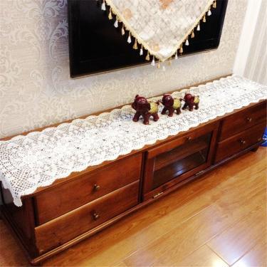Imagem de vanyear Toalha de mesa branca de crochê, toalha de mesa, rústica, retangular, 38 x 238 cm, branca