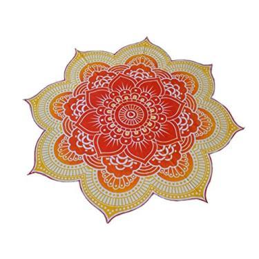 Imagem de Nuolux Toalha de praia, tapeçaria de mandala, formato de flor de lótus, toalha redonda hippie cigana boho para ambientes externos, toalha de mesa, tapete de ioga para pendurar (roxo), Yellow,kaki