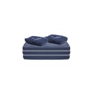 Puff Multiuso 3 em 1 Casal Azul Tecido Corvin com Travesseiro - Bf colchões