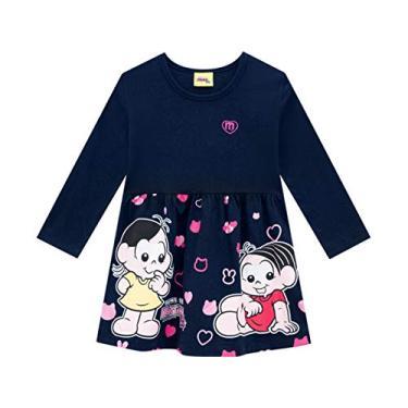 Vestido Infantil Turma da Mônica Manga Longa Brandili Menina 1-3 Anos (1 ano - azul marinho)