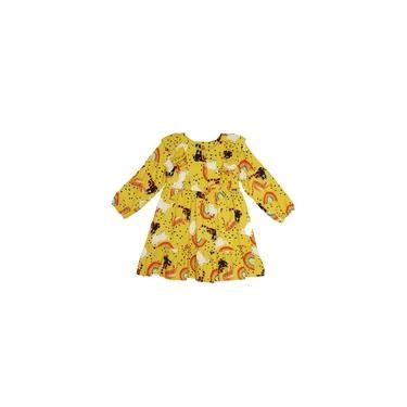 Vestido ML Viscose com Babado Amarelo VIGAT Amarelo 3
