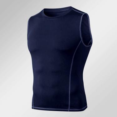 Camiseta masculina de compressão sem mangas Adaskala, moletom sem mangas com top sólido de cor sólida para treinamento esportivo