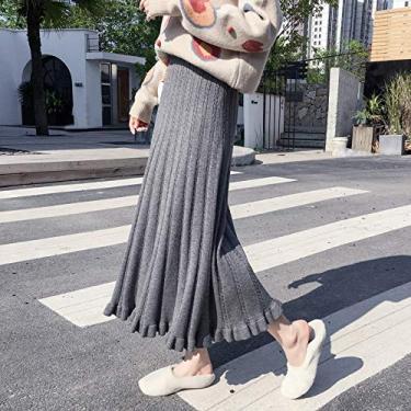 SWGG outono/inverno plus size saia de malha MM gordo feminino saia coreana de linha a linha de comprimento médio saia guarda-chuva versátil cinza