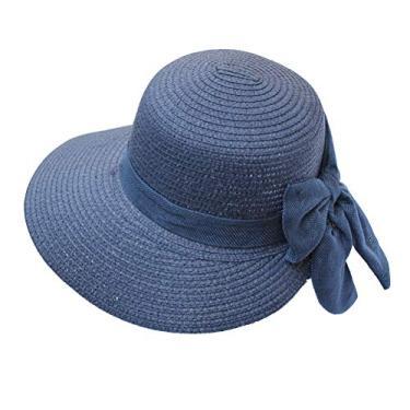 PRETYZOOM Chapéu feminino moderno com laço chapéu de palha para férias chapéu de sol de praia redondo (azul escuro, tamanho M) chapéu de sol de verão