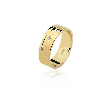 cfd4c63434c Aliança Feminina De Noivado Em Ouro 18k Com 3 Diamantes