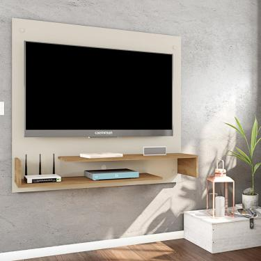 Painel Home Suspenso Caemmun Lizzy Para TV 46 Polegadas - Off White com Buriti
