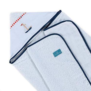 Toalha De Banho Para Bebe Com Capuz 100% Algodão - Marinheiro