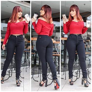 Calça Jeans Feminina Skinny Preta Cintura Alta Lycra Empina Bumbum