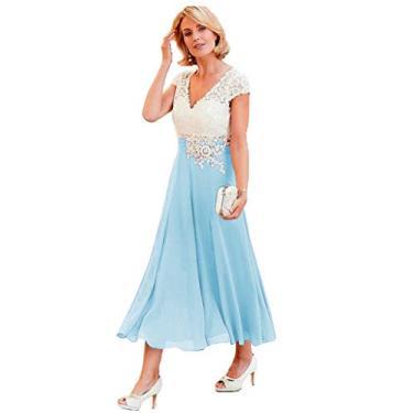 Vestidos de mãe da noiva com decote em V YMSHA para mulheres, comprimento até o chá, renda marfim, chiffon, vestido formal 2020 MM003, Baby Blue, 4