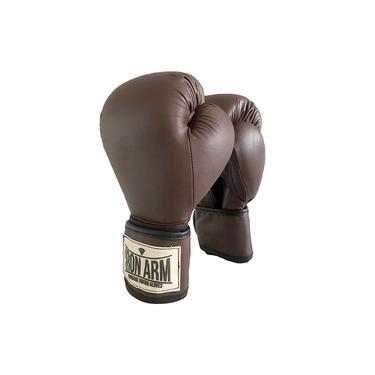 Luva De Boxe Iron Arm Pro Wood Couro Legítimo 16 Oz Velcro