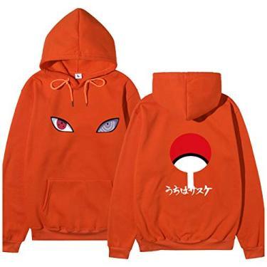 SAFTYBAY Moletom Naruto com capuz Uchiha Sasuke Itachi Naruto Shippuden mangá japonês pulôver com bolso, Laranja, XL