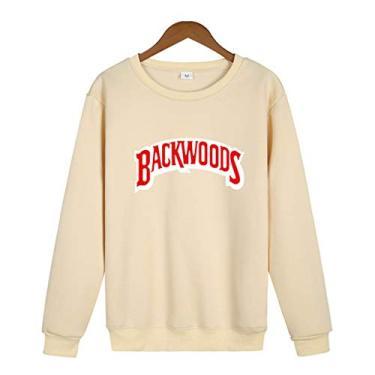 SAFTYBAY Moletom com capuz Backwoods de manga comprida com gola redonda e estampa de letras, suéter para homens e mulheres, cáqui, L